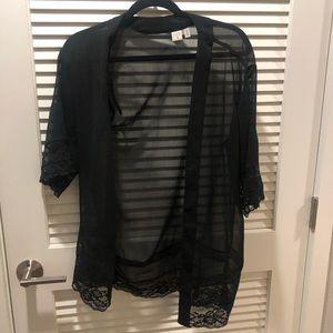 Black kimono lace top